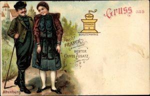 Litho Altenburg in Thüringen, Mann und Frau in Tracht, Werbung Kaffeezusatz Franck, Kaffeemühle