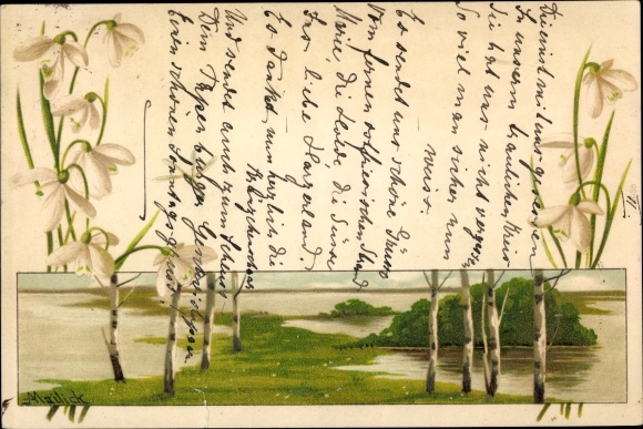 Künstler Litho Mailick, Uferlandschaft, Birken, Schneeglöckchen