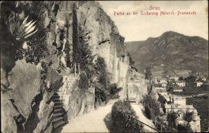 Ak Gries Bozen Bolzano Südtirol, Partie an der Erzherzog Heinrich Promenade