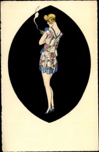 Künstler Ak Junge Frau in buntem Kleid, Zigarette rauchend