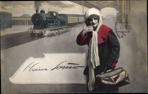 Ak Frau mit Handtasche auf dem Bahnsteig, Dampflok