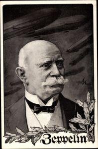 Künstler Ak Ferdinand Graf von Zeppelin, Portrait, Luftschiffe