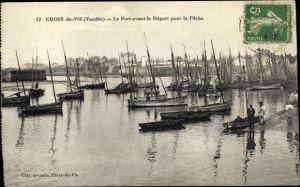 Ak Croix de Vie Vendée, Le Port avant le Depart pour la Peche