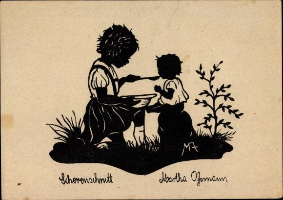 Scherenschnitt Künstler Ak Assmann, Martha, Puppenmütterchen