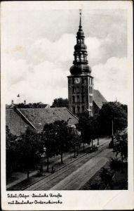Ak Sowjetsk Tilsit Ostpreußen, Deutsche Straße, Deutsche Ordenskirche