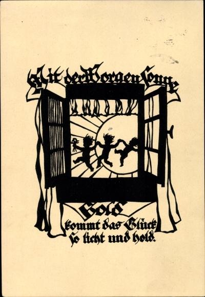 Scherenschnitt Künstler Ak Plischke, Georg, Mit der Morgensonne Gold, Nr. V