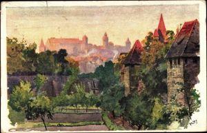 Künstler Ak Kley, H., Nürnberg in Mittelfranken Bayern, Stadtansicht, Blick vom Spittlertorgraben