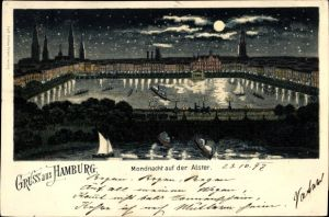 Mondschein Litho Hamburg Mitte Altstadt, Nacht auf der Alster, Sternenhimmel, Silhouette der Kirchen