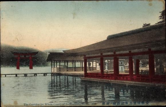 Ak Miyajima Präf. Hiroshima Japan, Itsukushima Schrein, Corridor, Whole Court