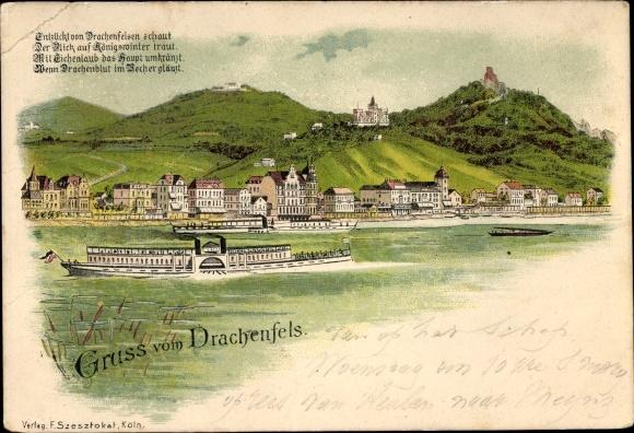 Litho Königswinter am Rhein, Panorama vom Ort, Rheindampfer, Burg Drachenburg u. Ruine Drachenfels
