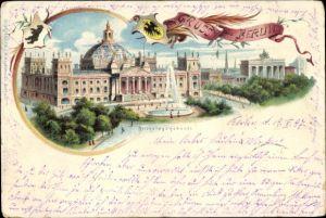 Passepartout Litho Berlin Tiergarten, Reichstagsgebäude, Brandenburger Tor, Springbrunnen, Wappen