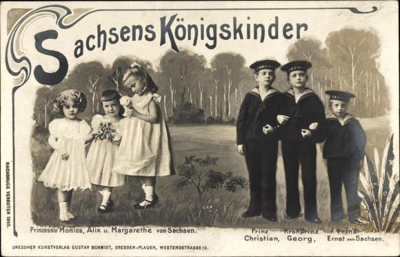 Ak Sachsens Königskinder unter König Friedrich August III. von Sachsen