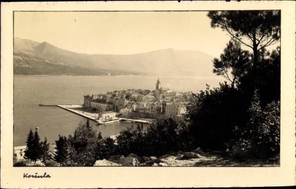 Ak Korcula Kroatien, Panoramablick auf die Stadt