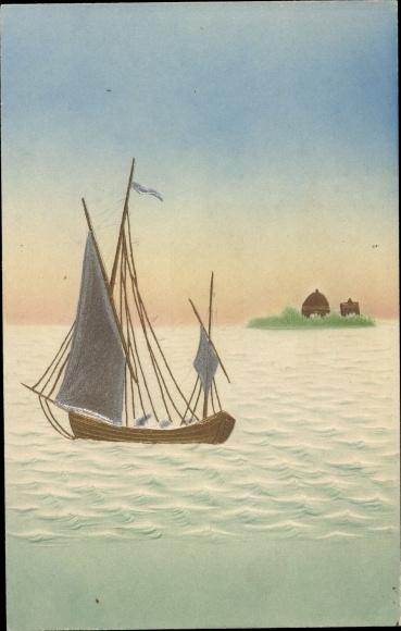 Präge Ak Segelschiff auf dem Wasser