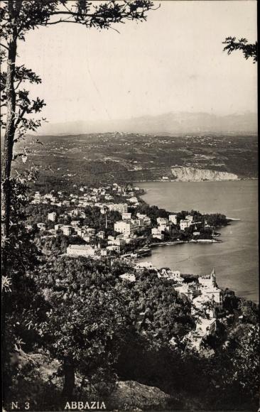 Ak Opatija Abbazia Kroatien, Panorama vom Ort