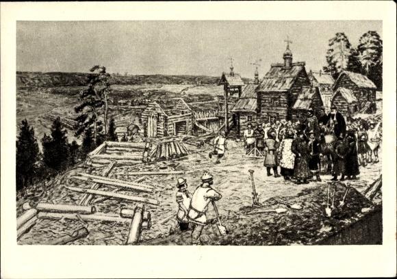 Künstler Ak Moskau Russland, Historisches Bild der Stadt um 1156, Holzhäuser, Bauphase, Kirche