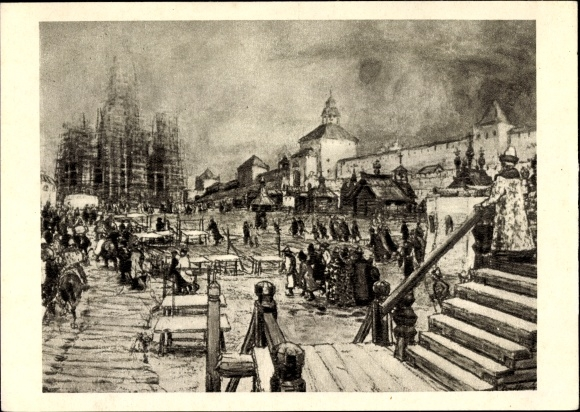 Künstler Ak Moskau Russland, Historisches Bild der Stadt um 1902
