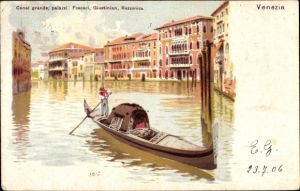 Litho Venezia Venedig Veneto, Canal Grande, palazzi, Foscari, Giustinian, Rezzonico, Gondel