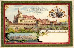 Litho Nürnberg in Mittelfranken Bayern, Germanisches Museum, 50. jähr. Jubiläum, Kaiser Wilhelm II.