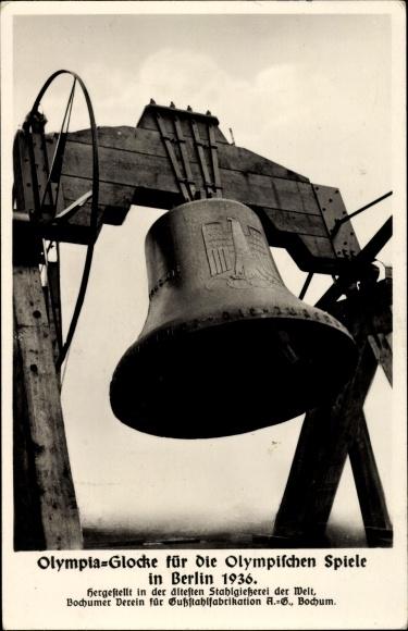 Ak Berlin Charlottenburg, Olympia Glocke für die Olympischen Spiele 1936, Bochumer Verein