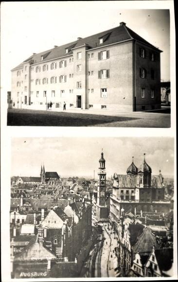 Foto Ak Augsburg in Schwaben, Gebäude, Teilansicht der Stadt