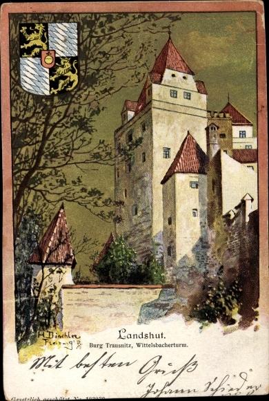 Künstler Ak Landshut in Niederbayern, Burg Trausnitz, Wittelsbacher Turm, Wappen