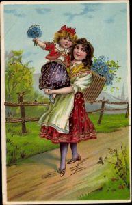 Präge Litho Großes Mädchen trägt kleines, Vergissmeinnichtblüten, Rückentrage