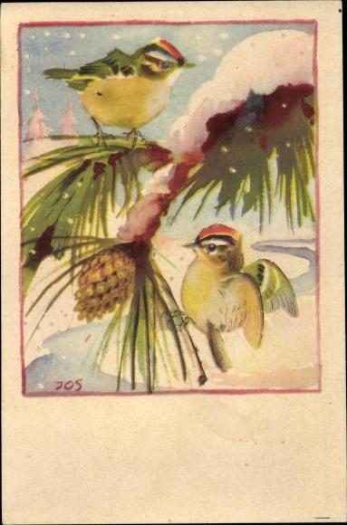 Künstler Ak Zwei Vögel auf einem Ast im Winter, Schneefall