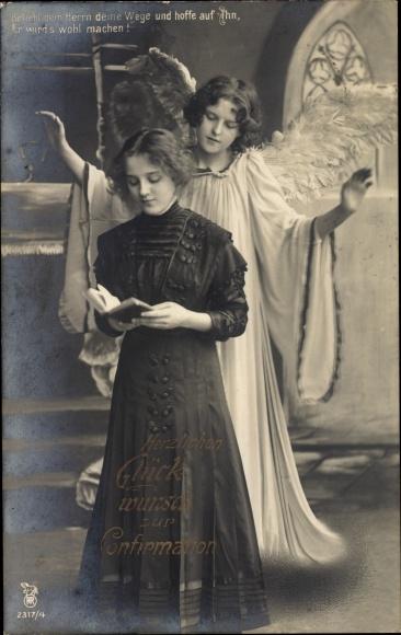 Ak Glückwunsch Konfirmation, Engel, Mädchen mit Bibel, RPH 2317 4