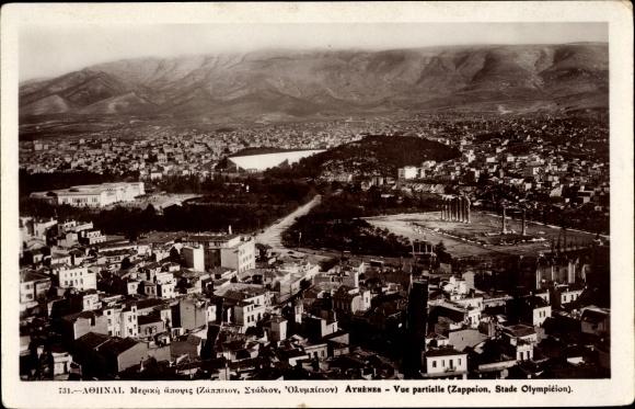 Ak Athen Griechenland, Stadtpanorama, Zappeion, Stadium