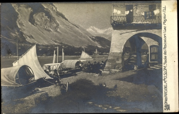 Künstler Ak Slom, O., Isola Pescatori Lago Maggiore Piemonte, Hafen, Salon de Paris 1910