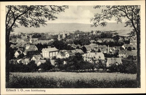 Ak Erbach im Odenwald Hessen, Panorama vom Schöllenberg