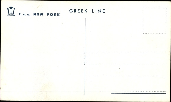 Ak Passagierschiff TSS New York, Greek Line