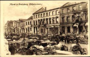 Ak Szczytno Ortelsburg Ostpreußen, Markt, Kriegszerstörungen, I. WK
