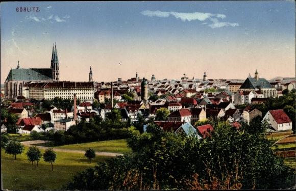 Ak Görlitz in der Lausitz, Blick auf den Ort, Kirche,Zieher