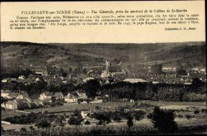 Ak Villeneuve sur Yonne, Vue générale, pris du nord est de la Colline de St. Martin