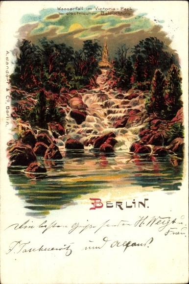 Mondschein Litho Berlin Kreuzberg, Wasserfall im Victoriapark b. elektrischer Beleuchtung