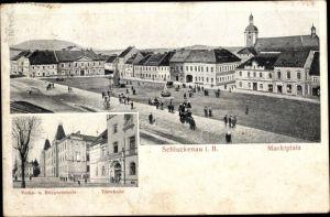Ak Šluknov Schluckenau Region Aussig, Volks- und Bürgerschule, Turnhalle, Marktplatz
