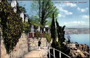 Ak Opatija Abbazia Kroatien, Strandpartie am Südstrand