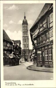 Ak Braunschweig in Niedersachsen, alte Waage und Andreaskirche
