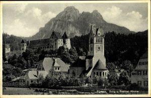 Ak Füssen im Ostallgäu, Burg, Kirche