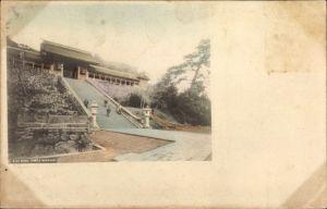 Ak Nagasaki Präf. Nagasaki Japan, Suwa Temple, exterior view, stairway, front entrance, people