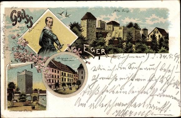 Litho Cheb Eger Reg. Karlsbad, Wallenstein, Schwarzer Turm, Todeshaus, Alte Burg