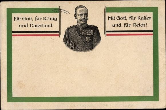 Künstler Ak König Friedrich August III. von Sachsen, Mitt Gott, für König und Vaterland