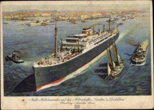 Künstler Ak Dampfschiff Caribia oder Cordillera, HAPAG