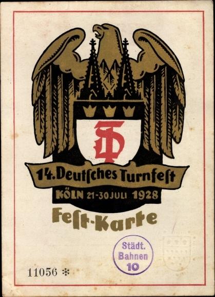 Künstler Ak Köln, 14. Deutsches Turnfest 1928, Adler, Festkarte