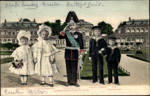 Ak Kronprinz Georg von Sachsen, Uniform, Leutnant, Alix, Margarethe, Fr. Christian, Ernst Heinrich