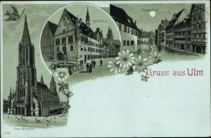 Mondschein Litho Ulm an der Donau, Münster, Rathaus, Blauansicht