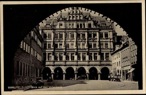 Ak Görlitz in der Lausitz, Blick auf den Untermarkt, Arkaden