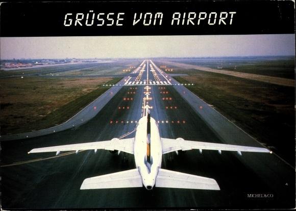 Ak Grüße vom Airport, Passagierflugzeug, Startbahn